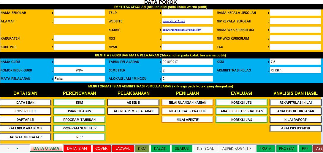 Download Aplikasi Administrasi Guru Berbasis Excel Lengkap Untuk SD SMP SMA