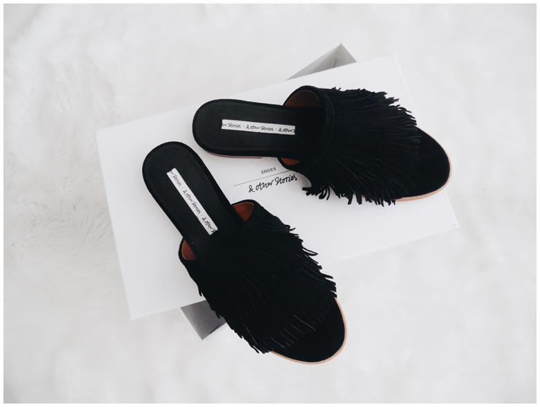 & Other Stories Black Fringe Slip-On Sandals