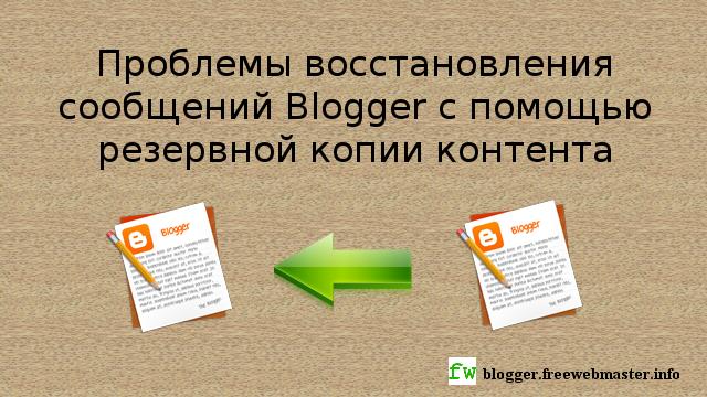 Неполноценность функции восстановления сообщений блога с помощью резервной копии контента Blogger