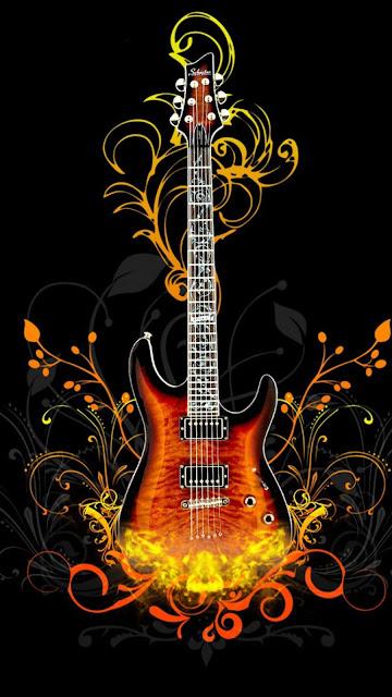 chitarra, sfondo nero con foglie e fiori stilizzate