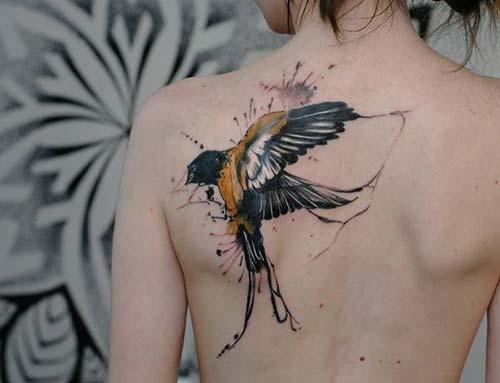 bird tattoo on back arka omuz kuş dövmesi