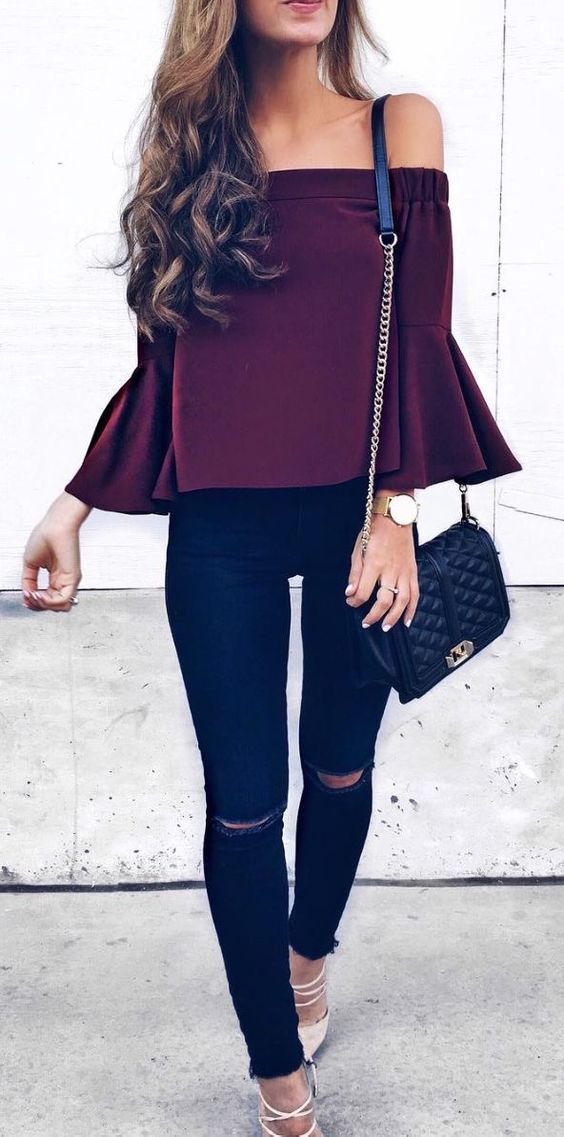 cute casual style addiction: maroon top + bag + skinny pants