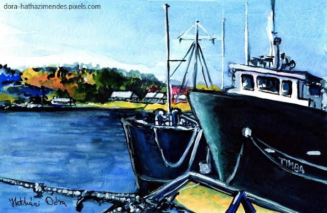 Timba at Monkey Bay watercolor by Dora Hathazi Mendes