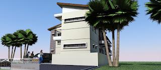Perspektif 1 Desain Rumah kost minimalis modern 2 lantai