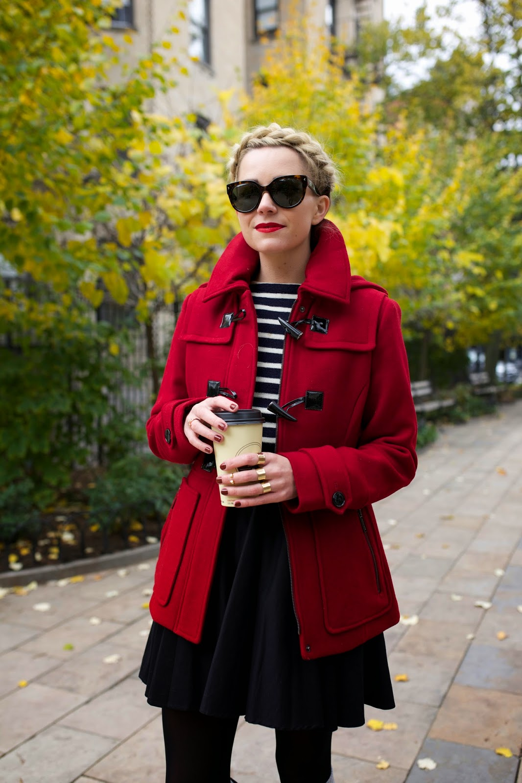Lady wearing thigh length coat