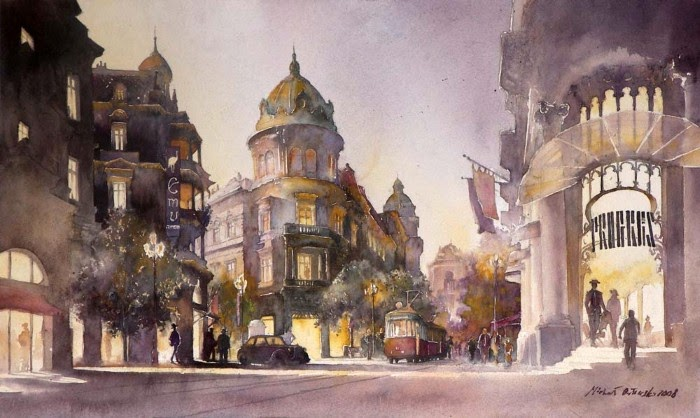 Польский художник-акварелист. Michal Orlowski