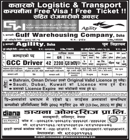 Free Visa Free Ticket jobs in Qatar for Nepali, Salary Rs 64,705