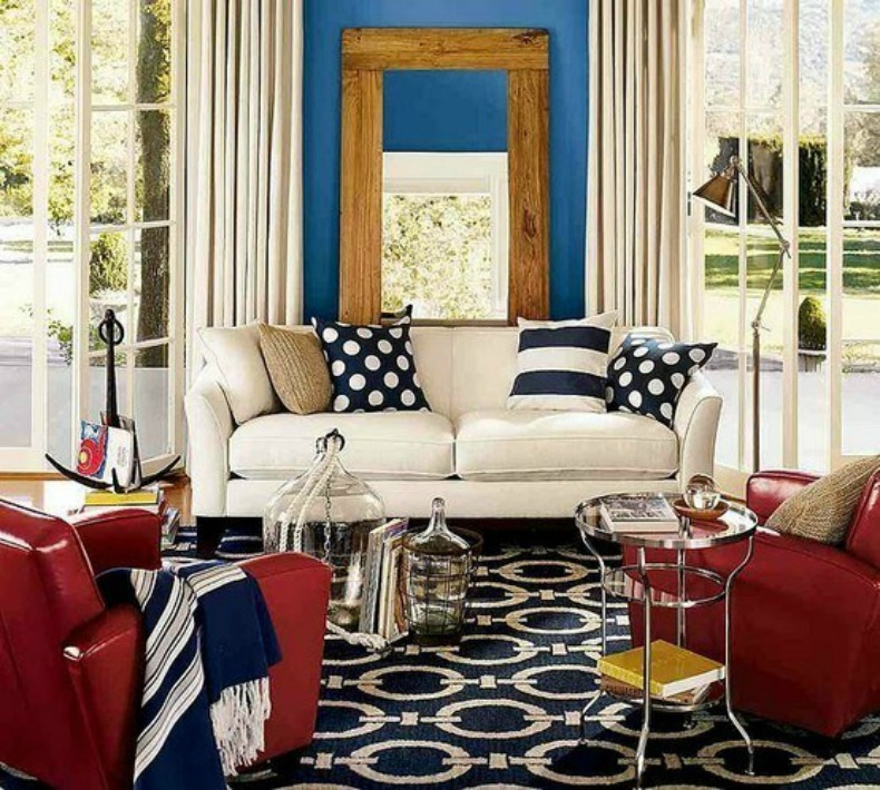 Red, white and blue hues in this coastal nautical living room