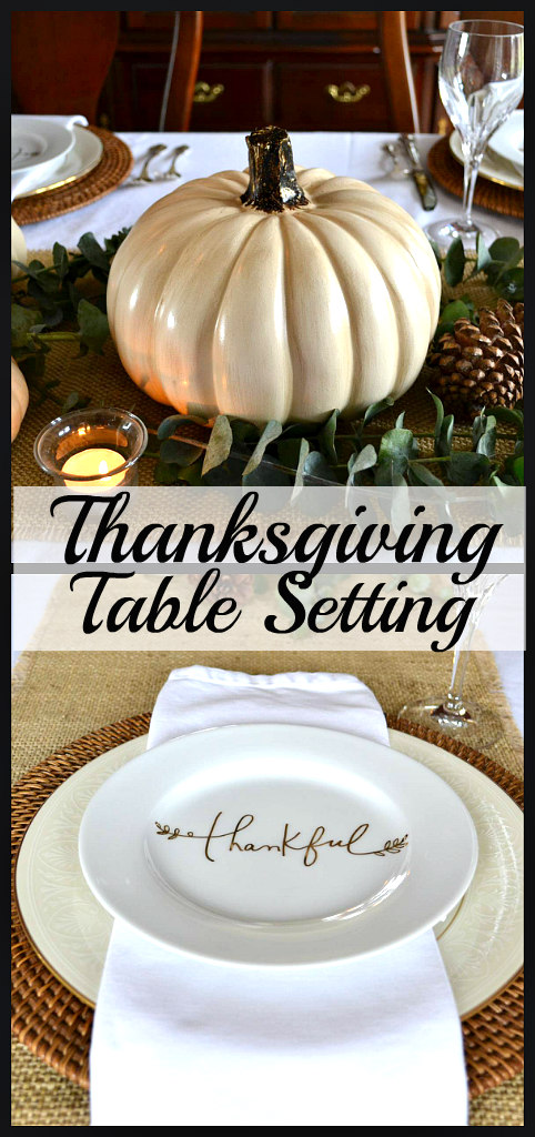 Elegant Thanksgiving Table Setting with White Pumpkins