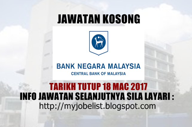 Jawatan Kosong Bank Negara Malaysia (BNM) Mac 2017