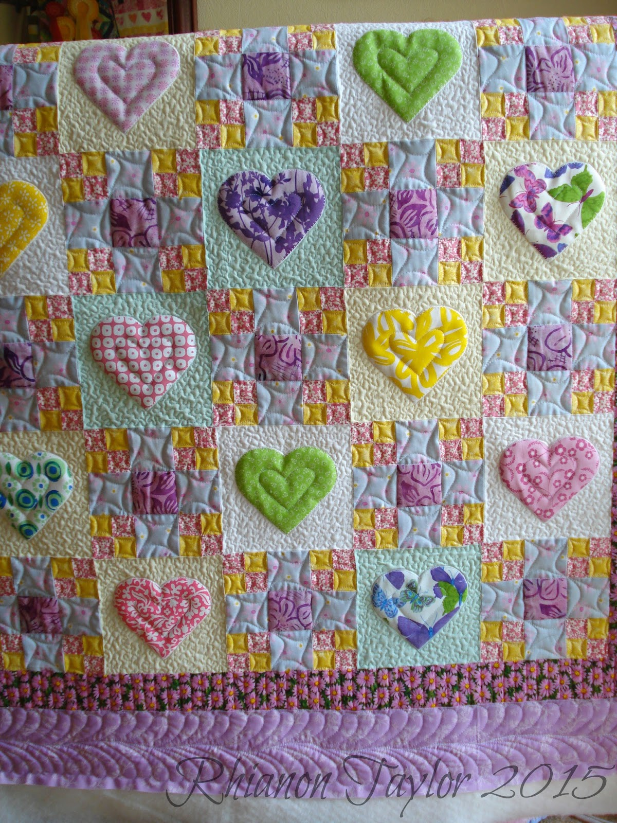 The Nifty Stitcher Hearts And 9 Patch Quilt And Cushion