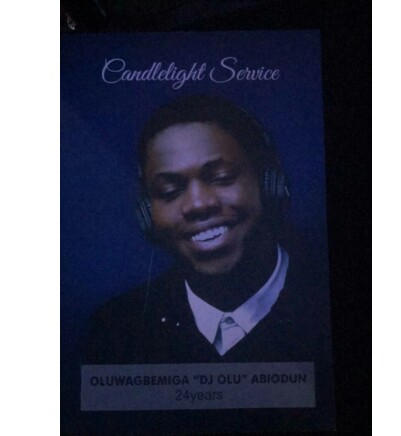 See Pictures from the candlelight service of DJ Olu