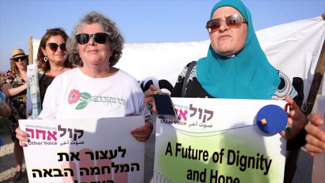 Mujeres israelíes marchan en solidaridad con mujeres en Gaza