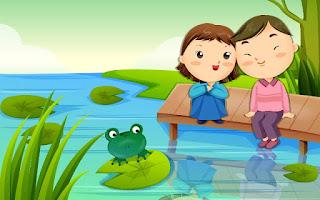 Gambar Kartun Lucu Berpasangan Duduk di Tepi Sungai