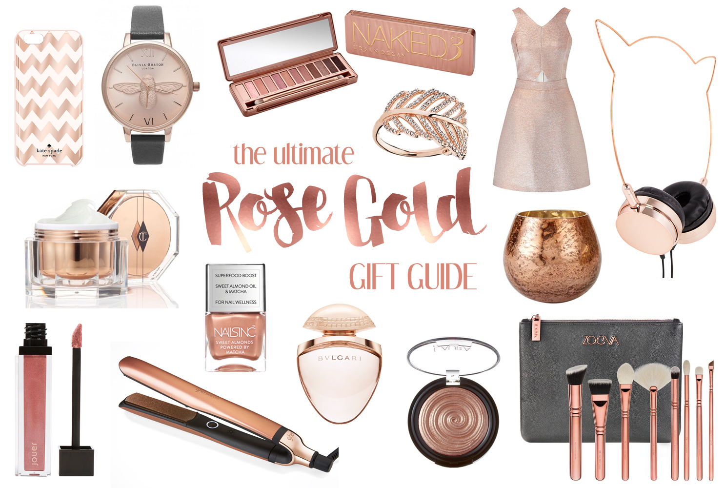 The Ultimate Rose Gold Gift Guide, Katie Kirk Loves, Rose Gold, Gift Guide, Gift Ideas, Christmas Gifts, Rose Gold Gifts, Rose Gold Beauty, Rose Gold Accessories, Beauty Gifts