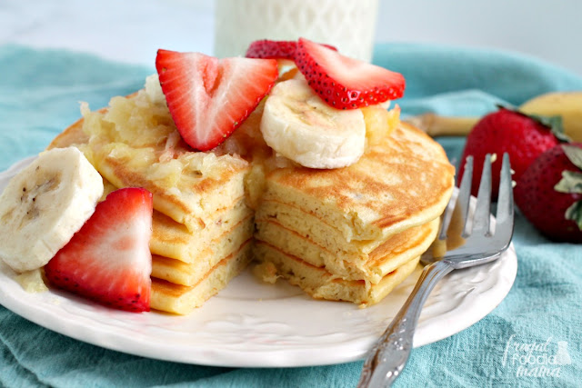 These tasty & filling Banana Split Greek Yogurt Pancakes are chock full of low fat Greek yogurt & milk.