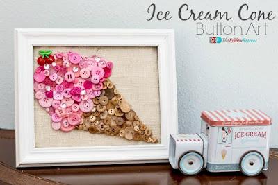 quadretto decorativo con cono gelato realizzato con bottoni colorati