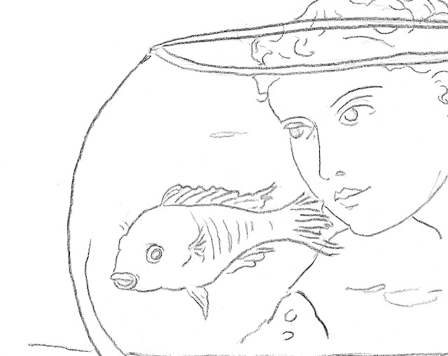 fishbowl, art, drawing, arte, minimal, minimalist, contemporary, minimalism, fish, pescado, goldfish, glass, bowl, figurative, woman, lady, swim, simple, sketch, eyes, globe, modern, design, dibujo, detail, close-up, face