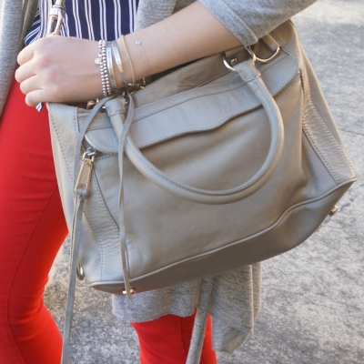 red skinny jeans, Rebecca Minkoff MAB mini in soft grey | Away From The Blue