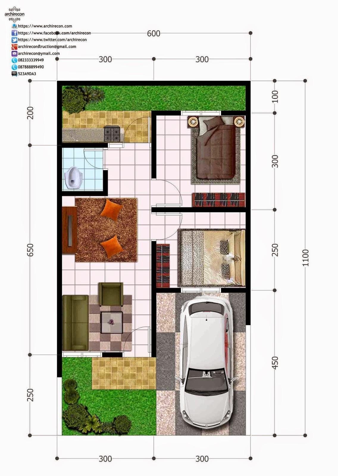 Hasil Jasa Desain Rumah Minimalis - Perumahan Green Land Villa - Denah Type 36