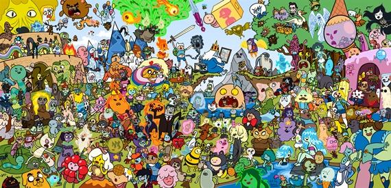 Papel de parede com todos os personagens de Hora de Aventura.