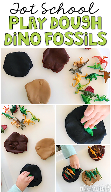 We LOVE this dinosaur fossil sensory bin. Great for tot school, preschool, or even kindergarten!