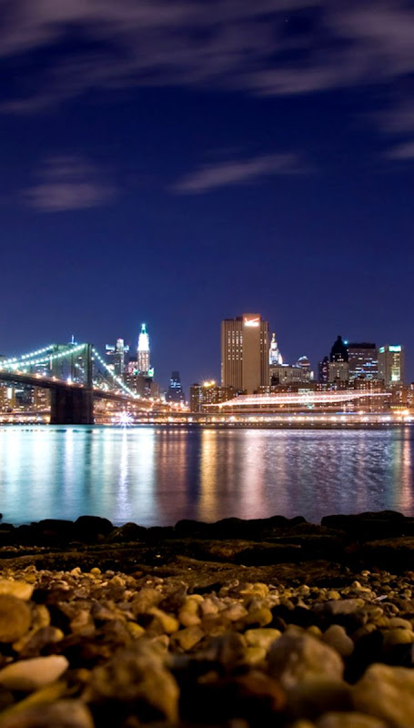 Skyline New York City Bridge Night Hd Wallpaper Background