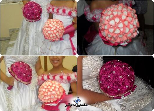 Buquê marshmallow daminha fita noiva