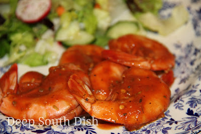 picy Baked Jumbo Shrimp - shrimp marinated in a spicy hot sauce and baked.