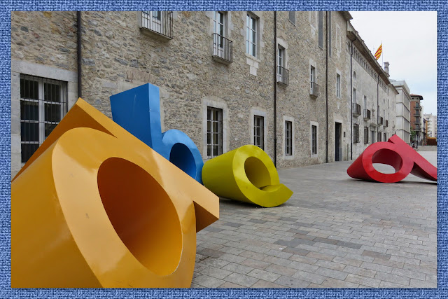 ABC sculptures in Girona, Costa Brava, Spain