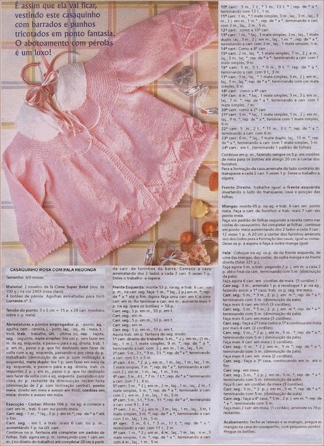Casaquinho Rosa Bebê Com Folhas
