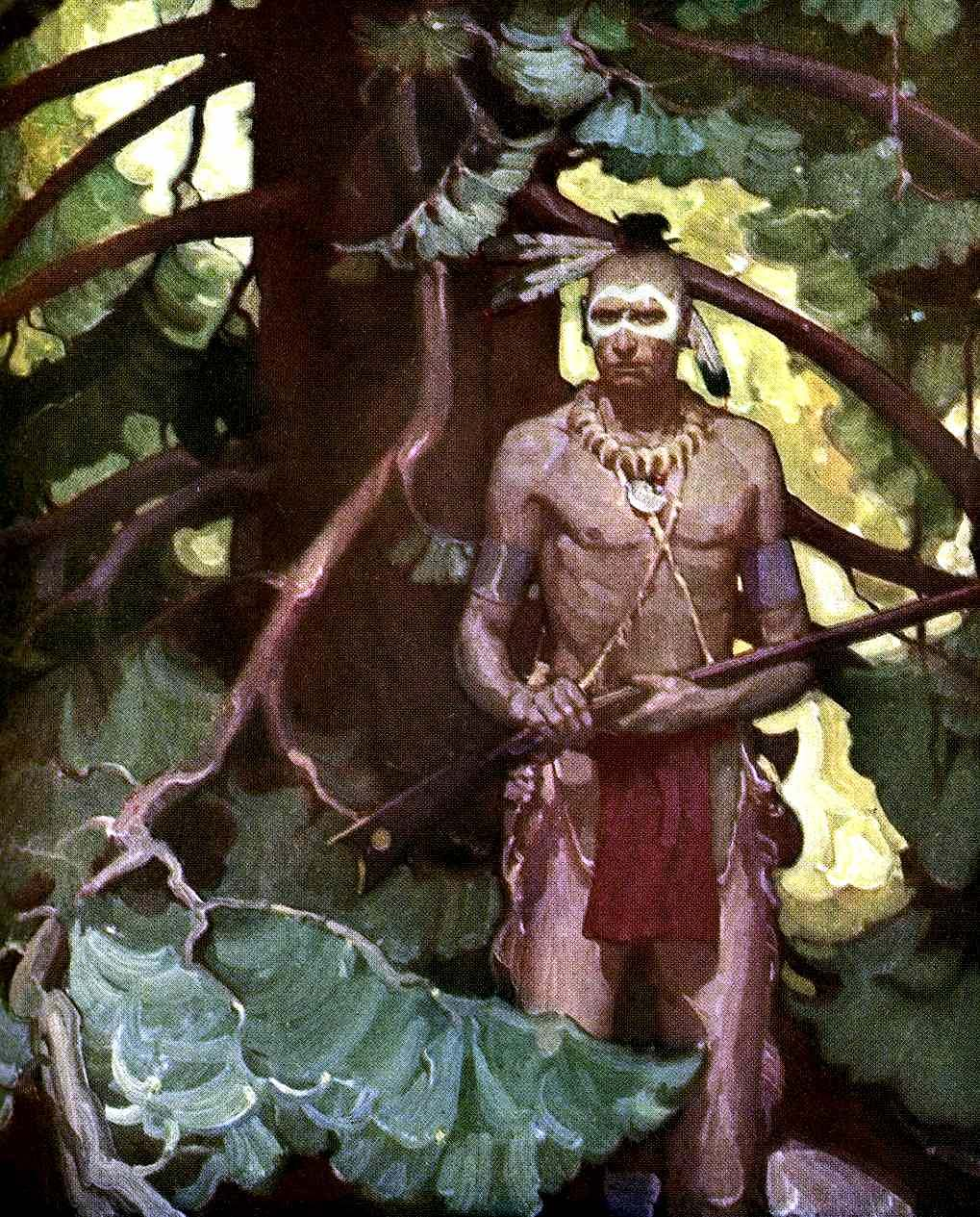 A Mead Schaeffer illustration of a first nation warrior for the book 'Everybody's Washington' 1931