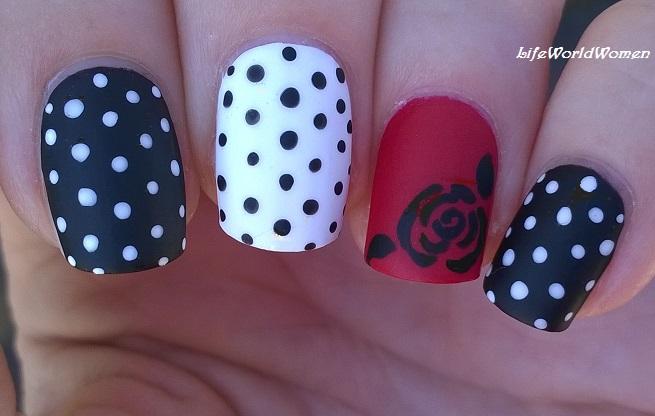 Life World Women Matte Black Red White Rose Nail Art With Polka
