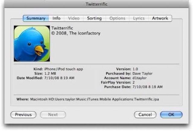 Mengecek Ukuran Aplikasi Twitterrific di iTunes