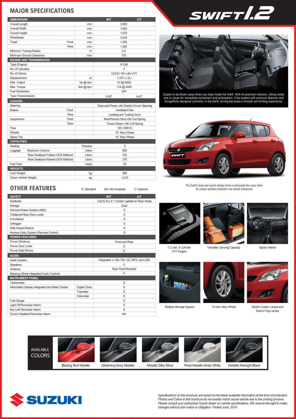 Suzuki Swift 1.2: Philippine Price, Specs and Availability