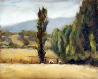 Oil painting of two sheep beside poplar trees with distant hills.