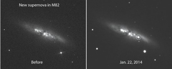 Before and after photos of the galaxy M82 showing the appearance of a  brand new 11.7 magnitude supernova.  Images by E. Guido, N. Howes, M. Nicolini