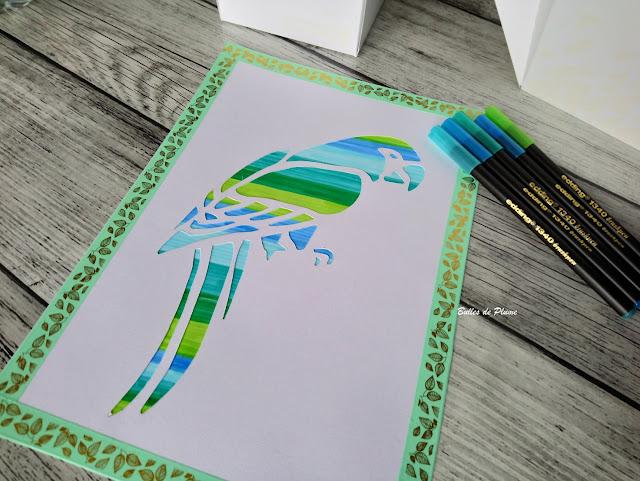 Bulles de Plume DIY Tableau Perroquet effet aquarelle brushpen