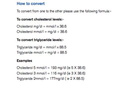 cholesterol mg dl to mmol l calculator