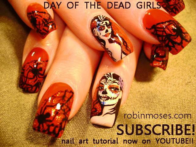 Day Of The Dead Red And Black Nail Art Design Gothic White Rose Simple Diagonal Green With Stripes