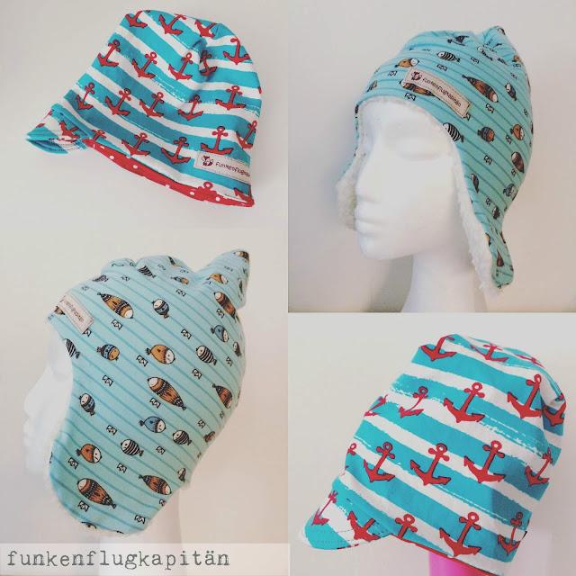 Mütze mit Schirm, Zipfelmütze mit Fell und Ohrklappen, nähen, Jersey