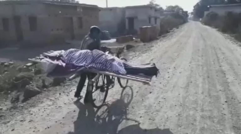 Bawa mayat ibu dengan basikal