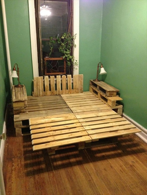 Pallet Bed Frame And Make It Durable Guarding From All Kinds Of Growth Fungal Etc To Give A Fresh Look Lay Bright Colored Sheets