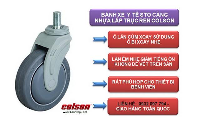 Bánh xe đẩy cao su trục ren chịu lực 80kg | STO-4854-448 www.banhxepu.net