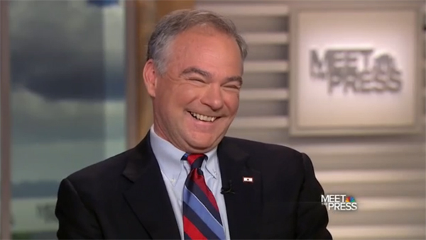 image of Tim Kaine on Meet the Press, laughing