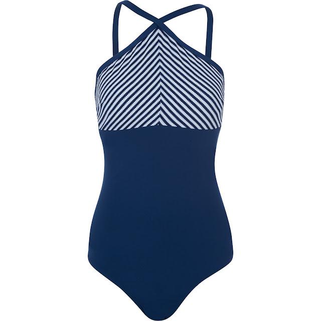 blue and white chevron stripe swimsuit ladies