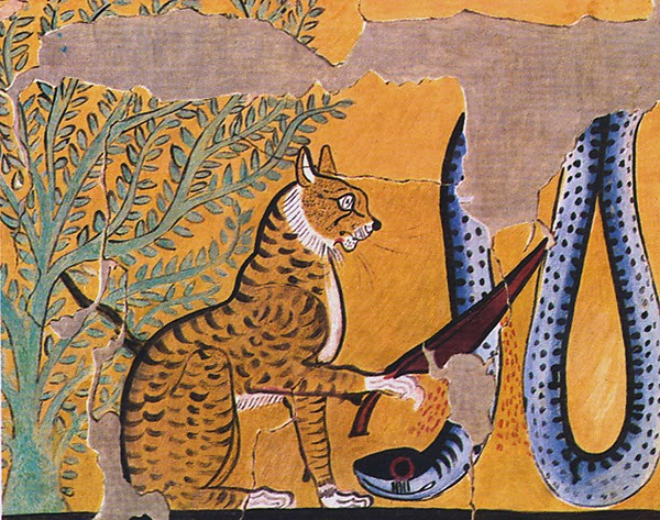 The cuddlywumps cat chronicles the egyptian god who for Egyptian fresco mural painting