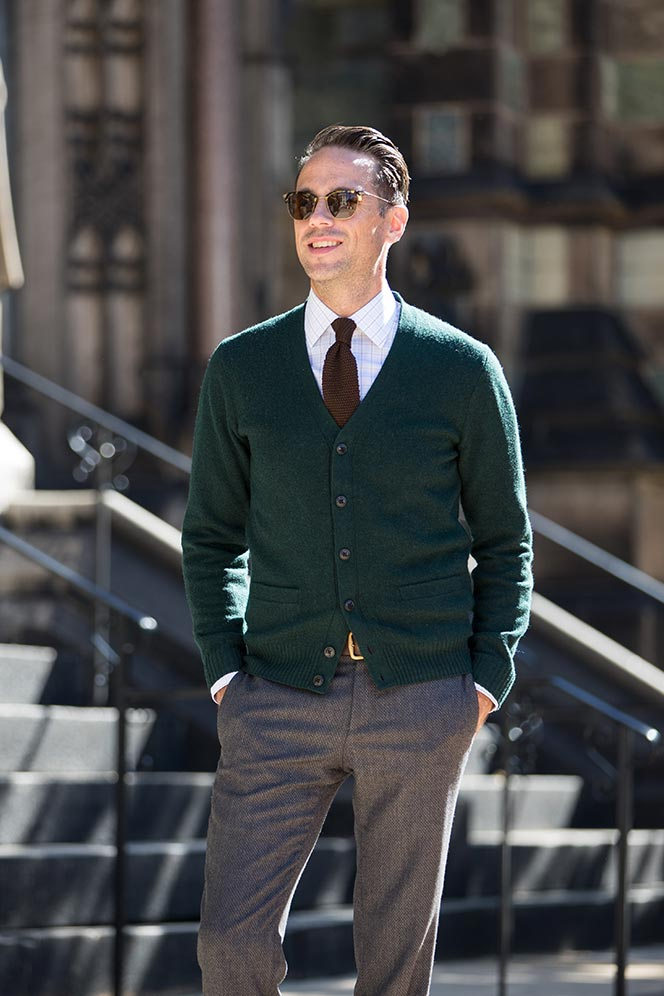Cardigan one of the most essential business casual pieces for Casual shirt and tie