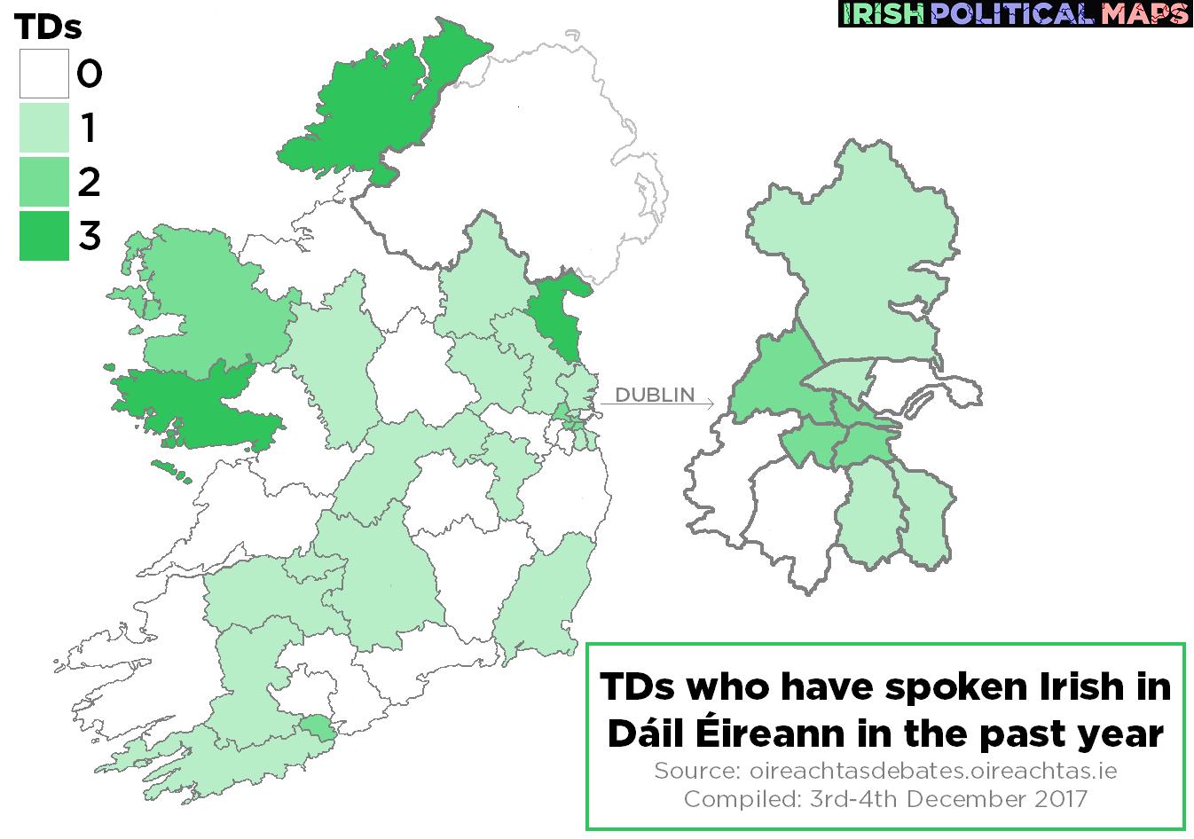 Map Of Ireland Gaeilge.Irish Political Maps How Many Tds Have Spoken Irish In Dail Eireann