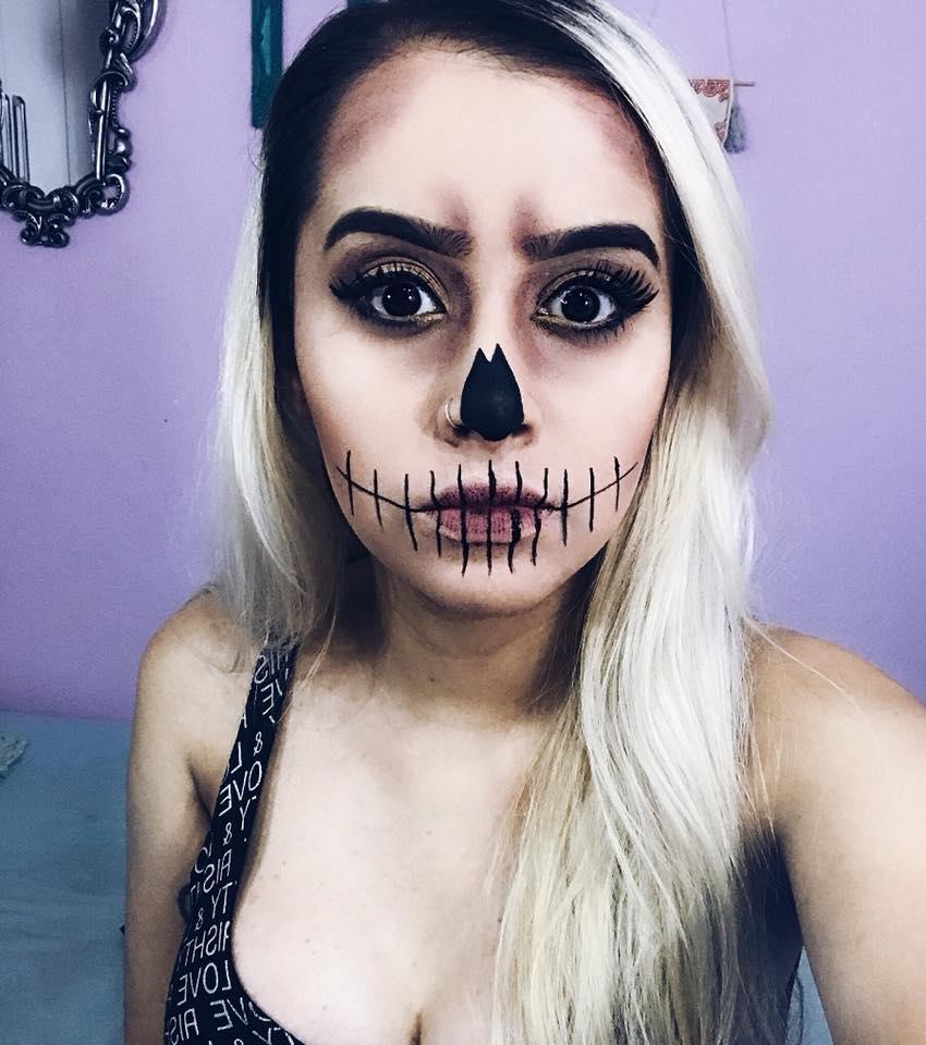Famosos Blog Carla M.: Maquiagem Caveira Fácil - Halloween ID11